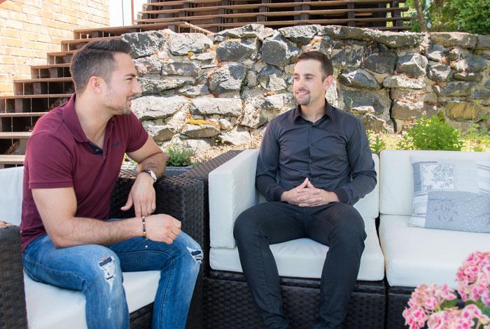 Marc Buchner (re.) im Interview mit Top-Redakteur Timo Tonndorf.