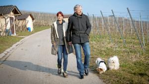 Dörfle Kleinaspach: Andrea Berg und Uli Ferber beim Spaziergang durch ihre Weinberge